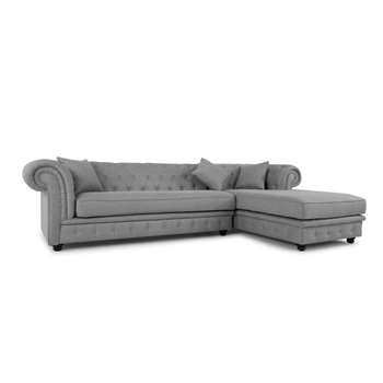 Branagh Right Hand Facing Chaise End Corner Sofa, Pearl Grey (H76 x W301 x D183cm)