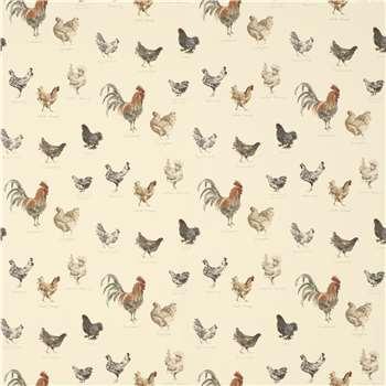 Branscombe Chickens Linen Wallpaper