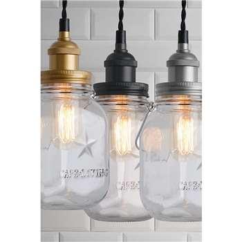 Brass/Black/Chrome Vintage Jar Light (H18 x W10 x D10cm)