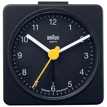 Braun Analogue Travel Alarm Clock, Black (H5.6 x W5.6 x D2.5cm)
