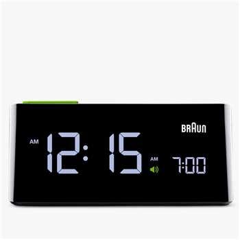 Braun LCD Touch Snooze Alarm Clock, Black (H6 x W14 x D15cm)