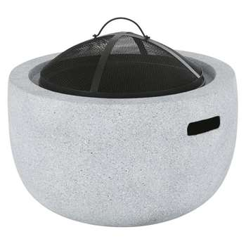 Brazier in Black Metal and Grey Fibre Clay (H52 x W61 x D61cm)