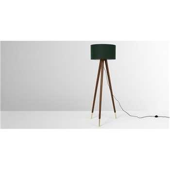 Bree Tripod Floor Lamp, Dark Wood & Green (H159 x W49 x D49cm)