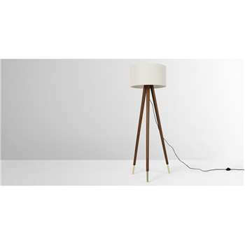 Bree Tripod Floor Lamp, Dark Wood & White (H159 x W49 x D49cm)