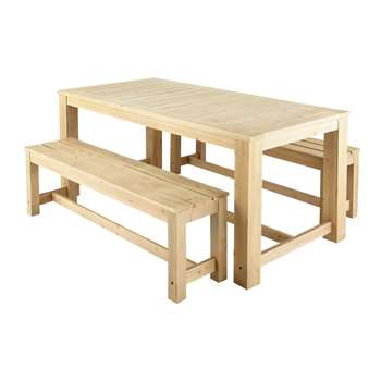 BRÉHAT Wooden garden table + 2 benches (77 x 180cm)