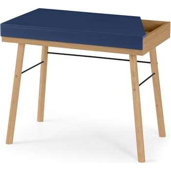 Brennan Lift-Top Desk, Oak and Blue (H76 x W90 x D55cm)