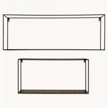 Brenton Rectangular Black Metal Shelf Set of 2 (30 x 100cm)