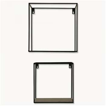 Brenton Square Black Metal Shelf Set of 2 (30 x 30cm)