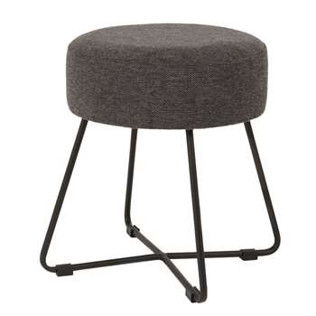 Brett - Black Metal and Anthracite Grey Stool (H42 x W35 x D35cm)