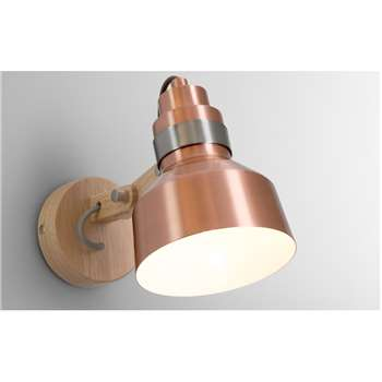 Brett Wall Lamp, Wood and  Brushed Copper (H19 x W4.2 x D29.5cm)