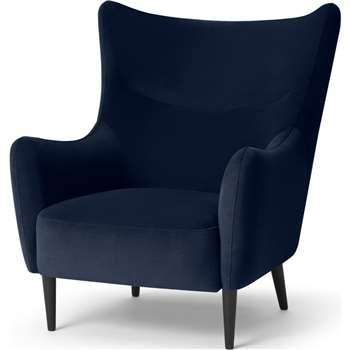 Bridget Accent Armchair, Ink Blue Velvet (H98 x W82 x D95cm)
