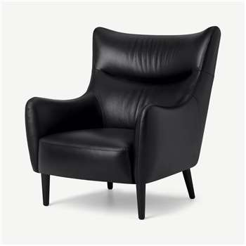 Bridget Accent Armchair, Midnight Leather (H98 x W82 x D95cm)