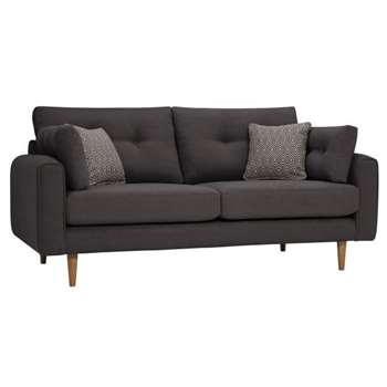 Brighton Charcoal Fabric 3 Seater Sofa (H86 x W190 x D98cm)