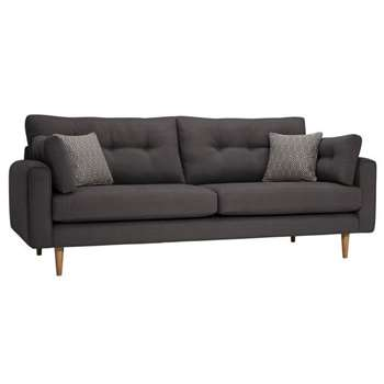 Brighton Charcoal Fabric 4 Seater Sofa (H86 x W225 x D98cm)