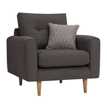 Brighton Charcoal Fabric Armchair (H86 x W93 x D94cm)
