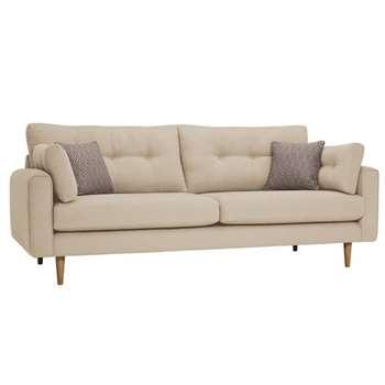 Brighton Parchment Fabric 4 Seater Sofa (H86 x W225 x D98cm)