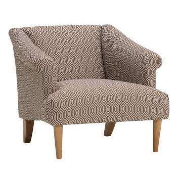 Brighton Parchment Fabric Accent Chair, Patterned (H72 x W78 x D83cm)