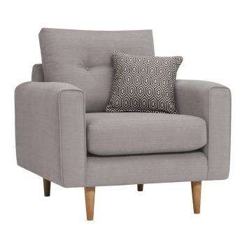 Brighton Pebble Fabric Armchair (H86 x W93 x D94cm)