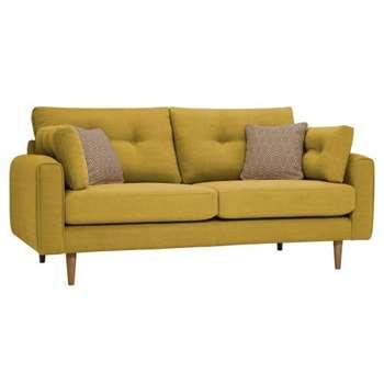Brighton Saffron Fabric 3 Seater Sofa (H86 x W190 x D98cm)