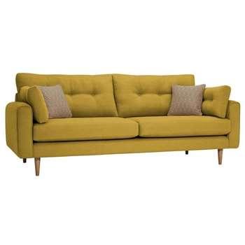 Brighton Saffron Fabric 4 Seater Sofa (H86 x W225 x D98cm)