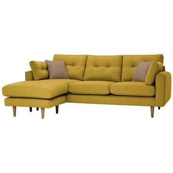 Brighton Saffron Fabric Lounger, Left (H86 x W225 x D159cm)