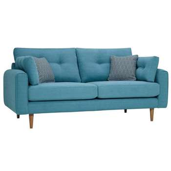 Brighton Sea Spray Fabric 3 Seater Sofa (H86 x W190 x D98cm)