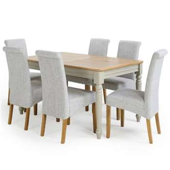 Brindle Natural Oak and Painted 4ft 9 inches Extending Dining Table with 6, Full Grey (H78 x W150 x D90cm)