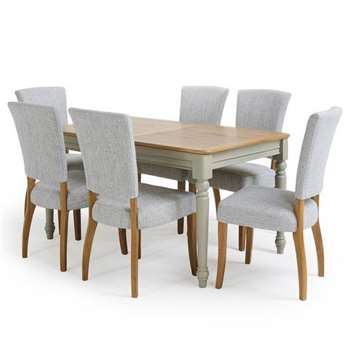 Brindle Natural Oak and Painted 4ft 9 inches Extending Dining Table with 6, Grey (H78 x W150 x D90cm)