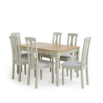 Brindle Natural Oak and Painted 4ft 9 inches Extending Dining Table with 6, Plain Grey (H78 x W150 x D90cm)