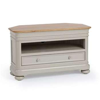 Brindle Natural Solid Oak & Painted Corner TV Unit (H61 x W102 x D51cm)