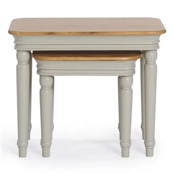 Brindle Natural Solid Oak & Painted Nest of Tables (H56 x W69 x D43cm)