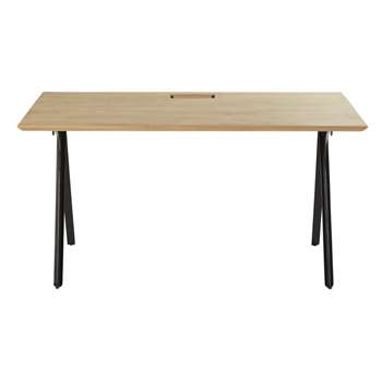 BRIXTON PRO - Professional Solid Mango Wood and Black Metal Desk (H72 x W140 x D80cm)