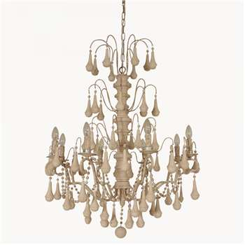Brockton Ornate Antique White Iron and Wood Chandelier
