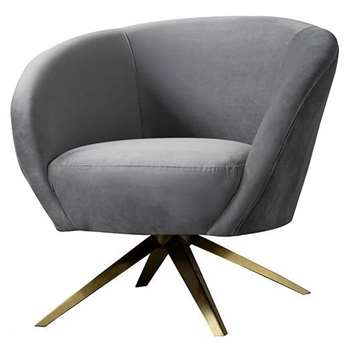 Brodie Swivel Chair - Dove Grey - Brass Base (H81 x W85 x D80cm)