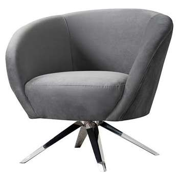 Brodie Swivel Chair - Dove Grey - Silver Base (H81 x W85 x D80cm)