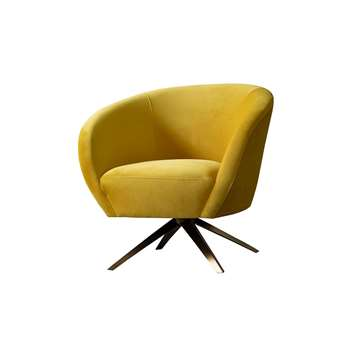 Brodie Swivel Chair - Mustard (H81 x W85 x D80cm)