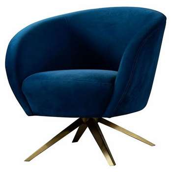 Brodie Swivel Chair - Navy Blue (H81 x W85 x D80cm)