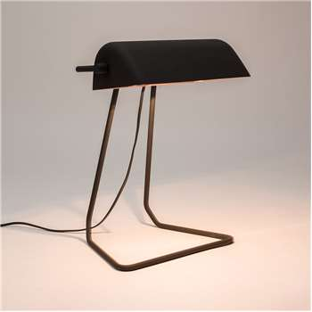 Broker Vintage Style Desk Lamp in Black (Width 160cm)