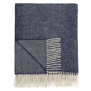 Bronte by Moon Herringbone Throw, Navy (H140 x W185cm)