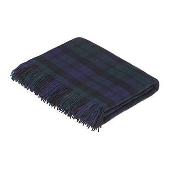 Bronte by Moon - Merino Lambswool Tartan Throw - Black Watch (H185 x W140cm)