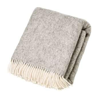Bronte by Moon - Natural Pure Wool Throw - Herringbone Grey (H195 x W135cm)