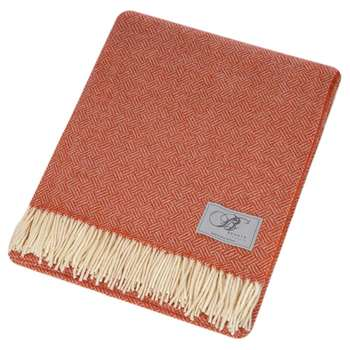 Bronte by Moon - Parquet Merino Lambswool Throw - Coral (H140 x W185cm)