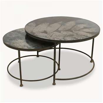 Brookby Antiqued Blue Mirror Round Tray Tables Set of 2 (50 x 80cm)