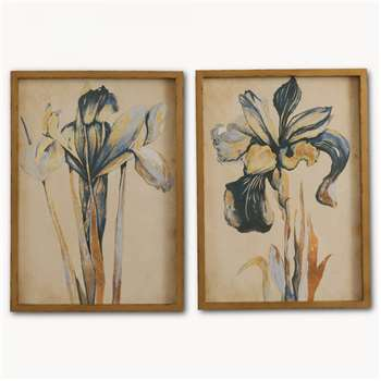 Brookby Set of 2 Framed Blue Iris Wall Art - NO7084A (60 x 43cm)