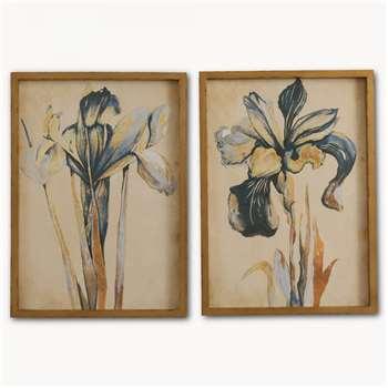 Brookby Set of 2 Framed Blue Iris Wall Art - NO7084A (60 x 43cm)