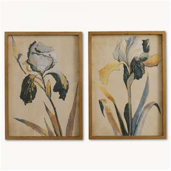Brookby Set of 2 Framed Blue Iris Wall Art - NO7084B (60 x 43cm)