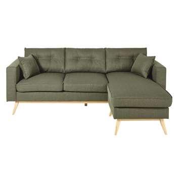 BROOKE Khaki Green 4/5-Seater Scandinavian-Style Modular Corner Sofa (H89 x W220 x D149cm)