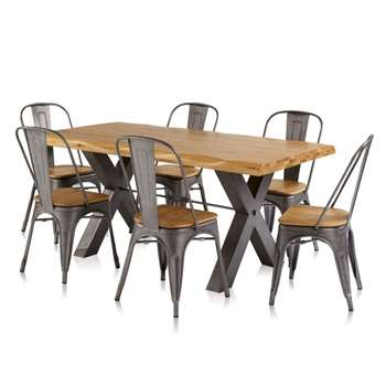 Brooklyn Dining Table with 6 Brooklyn Chairs (H78 x W180 x D90cm)