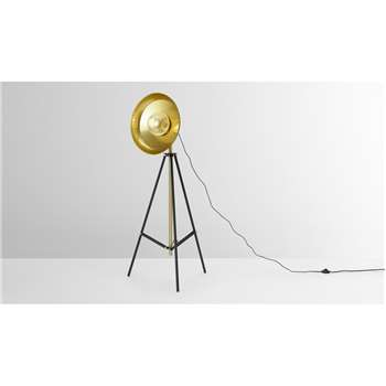Brooklyn Large Tripod Floor Lamp, Black & Brushed Brass (H145.5 x W63 x D63cm)