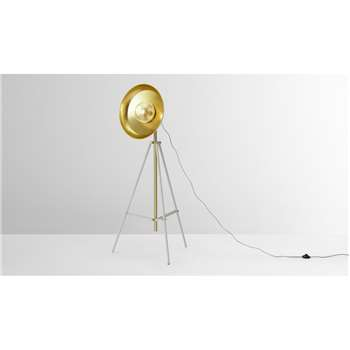 Brooklyn Large Tripod Floor Lamp, Muted Grey & Brushed Brass (H146 x W63 x D63cm)